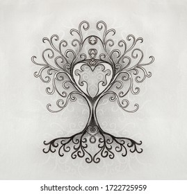 tree of life symbol on structured ornamental background