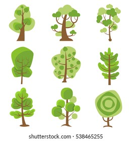 Tree logo flat cartoon decorative icons set on white background with deciduous and coniferous types trees isolated  illustration