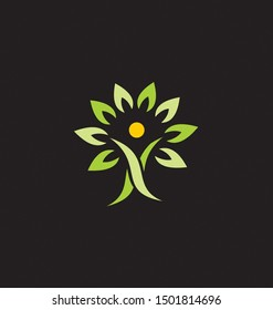 Tree Logo Organic Root People Green Garden Knowledge Eco Earth Floral Agriculture Health Trunk Symbol Sign Business Simple Season Man Human Design Natural Education Concept Figure Protection Branch