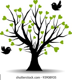tree love with green hearts, spring of love