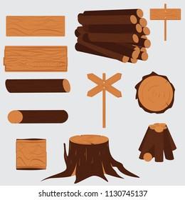Tree lumber. Wooden trunk stump singboards set, illustration of firewood material industry design