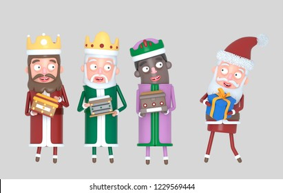 Tree Magic Kings  and Santa Claus holding presents. Isolated.3d illustration