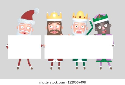 Tree Magic Kings  and Santa Claus holding White placards. Isolated.3d illustration