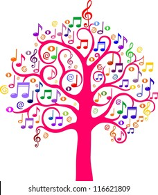 Tree from musical notes. illustration