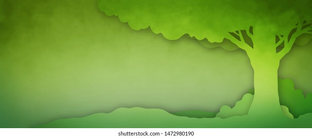Tree nature background with green abstract paper cut out or silhouette outline design, summer eco or landscaping service border illustration with 3d drop shadow cutout