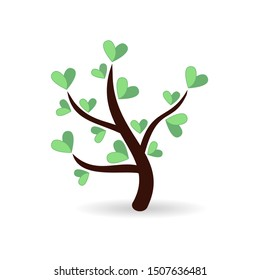 Tree with paper leaves and hanging hearts. Love tree with heart leaves. Jpeg illustration