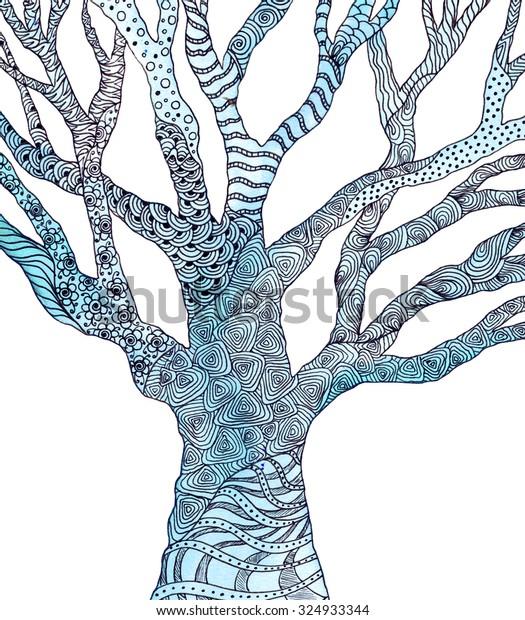 Tree Pattern Watercolor Picture Zentangle Doodles Stock