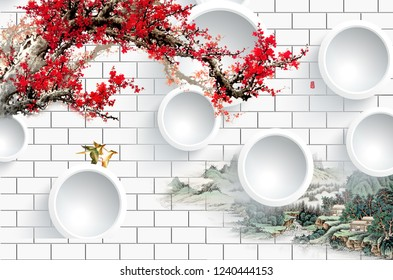 Tree with red flowers on branch decorative ring 3D wallpaper