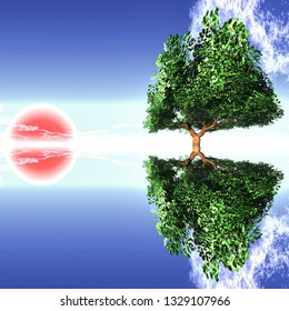 tree and red sun 3D illustration
