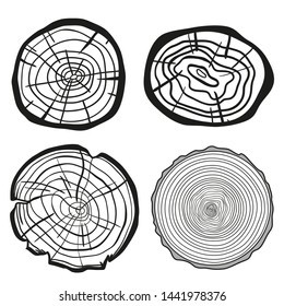 Tree rings on white. Set of cross section of the tree. Outline for polygraphy, banners, posters and other. Black and white illustration for your work