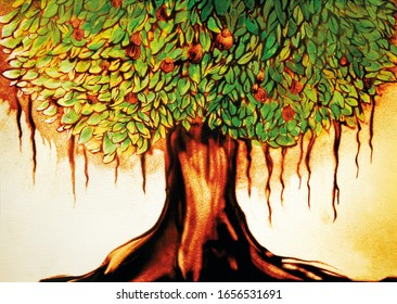 The tree of samsara should exude wisdom and power in your space. Painted in sand and coloured with pigment ink.