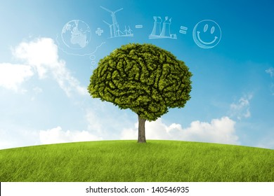 Tree in the shape of brain thinks to environmental solution