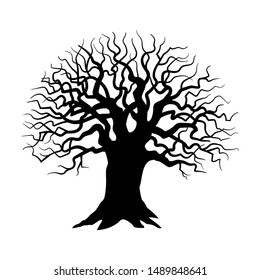 Tree silhouette on white background, Sinister, gloomy tree