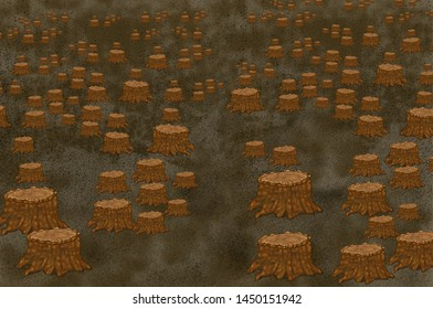 Tree stumps in a clear-cut forest field. Deforestation with many stumps in desert place, nature disaster concept , cutting down trees, environmental pollution and ecological problems