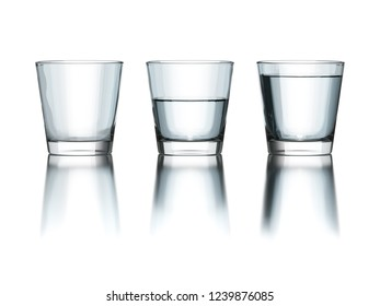 tree water glasses empty half and full philosophy 3d illustration