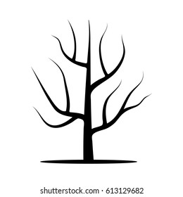 Tree without leaves. Illustration isolated on a white background