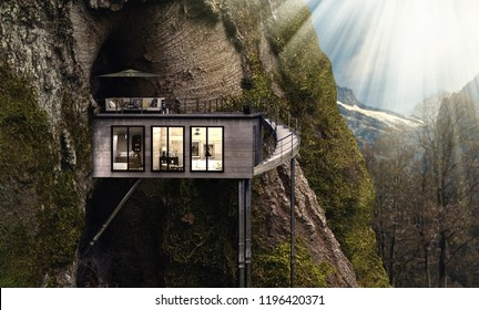 Treehouse in the mountains (3d rendering)