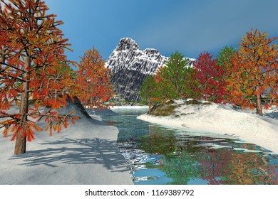 Trees with colored leaves, 3d rendering, a beautiful  landscape, snow on the ground, mountain in the background and a blue sky.