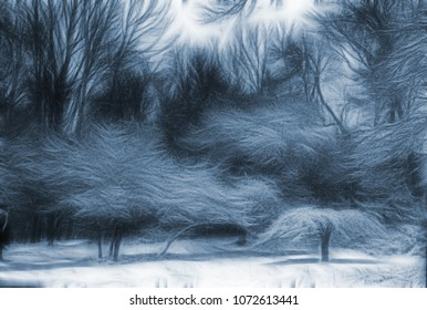 Trees Landscape Abstraction. 3D rendering