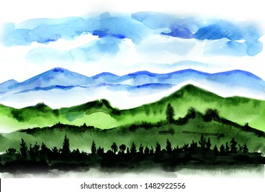 Trees on a background of mountains. Watercolor pictures