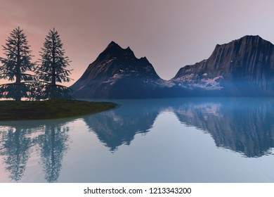 Trees on the islet, 3d rendering, a natural landscape, snowy mountain and wonderful waters on the lake.