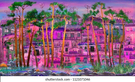 Trees in purple morning town, oil painting artwork