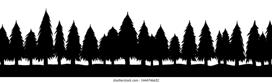 Trees, silhouette of forest on white background