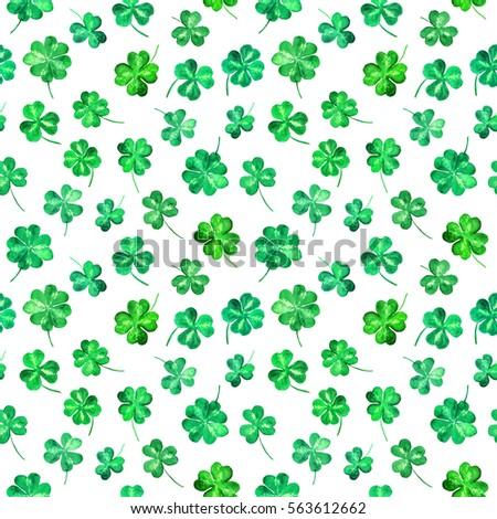 trefoil leaves four leaf clover seamlessのイラスト素材 563612662