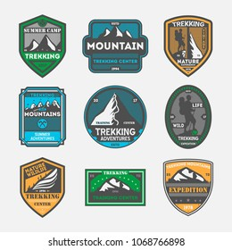 Trekking expedition vintage isolated label set. Outdoor adventure symbol, mountain explorer sign, touristic training center badge, nature hiking logo. People travel activity illustration