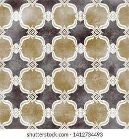 Trellis Pattern, Quatrefoil lattice geometric wallpaper, textile rug or carpet background, Moroccan design inspired by old ornaments