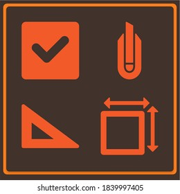 Trending modern set of 4 straightforward filled icons such as check square, cutter, square measument
