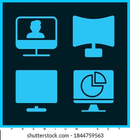 Trending premium modern set of 4 supervision filled icons such as monitor, screen