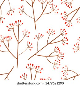 Trendy abstract seamless pattern with red plant isolated for decorative design. Simple graphic print. Beautiful fashion art.