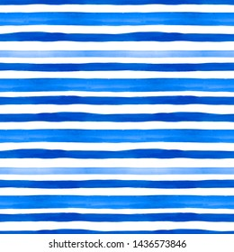 Trendy Blue and turquoise watercolor stripe pattern. Seamless bright hand painted background with stripes. Nautical marine style for design with summer vibes for textile, design, wallpapers.