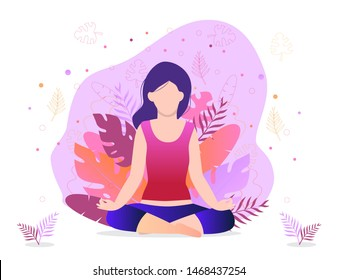 Trendy business yoga concept illustration. Office meditation, self-improvement, controlling mind and emotions, zen relax concentration yoga practice. Girl is sitting in a lotus position.