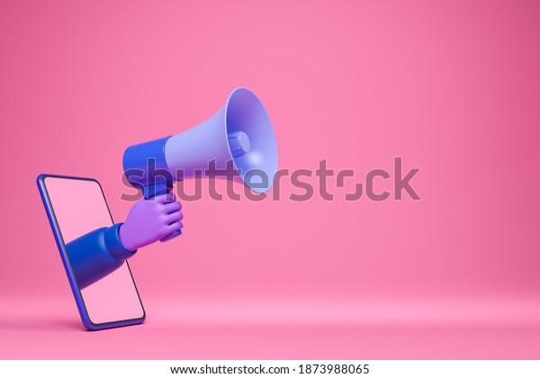 Trendy cartoon violet skin hand holding blue loudspeaker and show through smartphone screen. Online internet advertising announcement concept. 3d render illustration