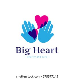 trendy charity center logo. Hospital logotype with hands and heart