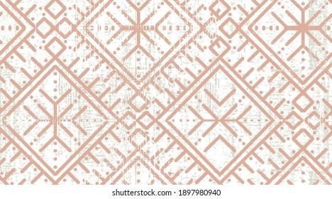 trendy chic geometric boho geo motifs on textured background seamless digital print pattern design. Ethnic, tribal  surface  Repeated diamonds and rhombuses motif. Folk motifs