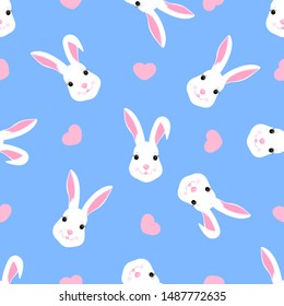 Trendy childish seamless pattern with cute Easter rabbit and hearts. Can be used for the decoration of the nursery, children s clothing, kids accessories, gift wrapping, digital paper.