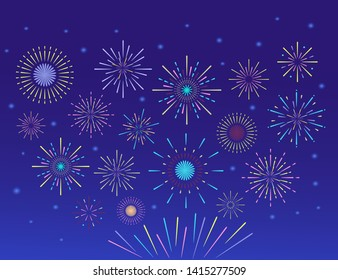Trendy colorful fireworks. Celebration fire firework, christmas or mardi gras or pyrotechnics for party festival celebration or anniversary firecracker background isolated illustrations set