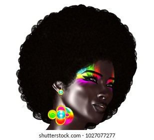 Trendy, curly African hair is worn by this realistic 3d model. She poses in front of an isolated white background, wears colorful electric eye shadow and matching bubble earrings. This is a 3d render