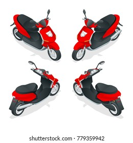 Trendy electric scooter, isolated on white background. Isolated electric scooter, template for branding and advertising. Isometric illustration.