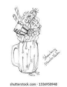 Trendy food concept - freak shake or overshake. Close up view of freakshake in mason jar. Hand drawn illustration of freaked milkshake isolated on white background.