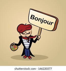 Trendy french man says Hello holding a wooden sign sketch.