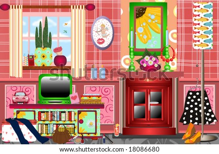 Trendy Funky Retro Graphic Living Room Stock Illustration