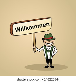 Trendy german man says welcome holding a wooden sign sketch.
