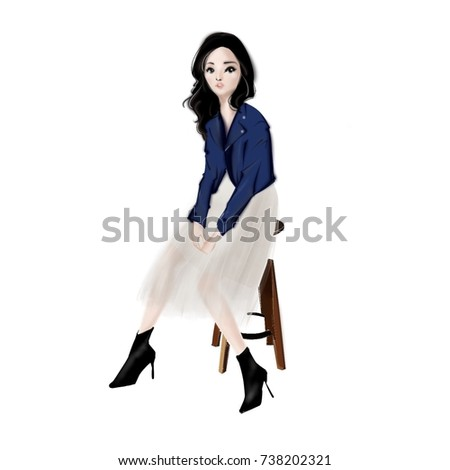 Royalty Free Stock Illustration Of Trendy Girl Denim Jacket Tulle