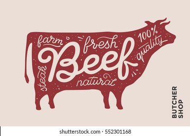 Trendy illustration with red cow silhouette and words Beef, fresh, steak, natural, farm. Creative graphic design for butcher shop, farmer market. Poster for meat related theme. Illustration