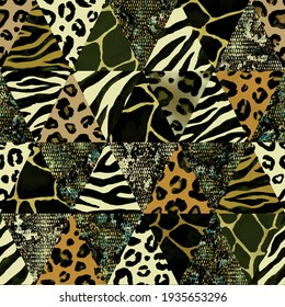 Trendy imitation sewn triangular pieces of fabric in patchwork style. Watercolour hand drawn modern collage seamless pattern. Safary texture with animals print of giraffe, leopard, zebra, snake.