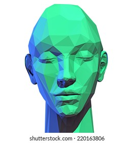 """Trendy """"low poly"""" style human head. 3D concept"""